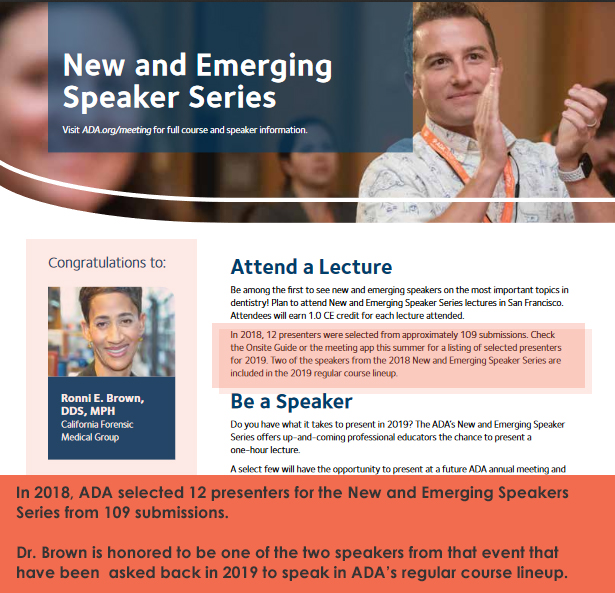 Dr. Ronni Brown - new and emerging speaker series
